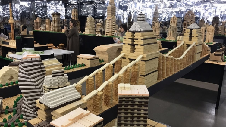 A giant biscuit city has been built by the Bund