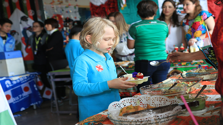 Children check out the event's food offerings