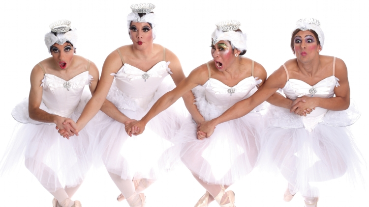 The titans of male comic ballet on tights, tutus and toe shoes