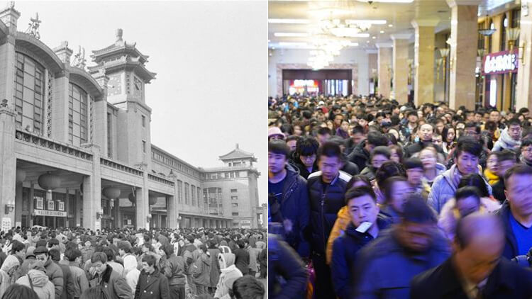 Photos: CNY travel rush then and now