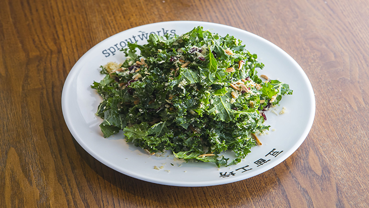 Kale, cranberry, almond and Parmesan cheese salad