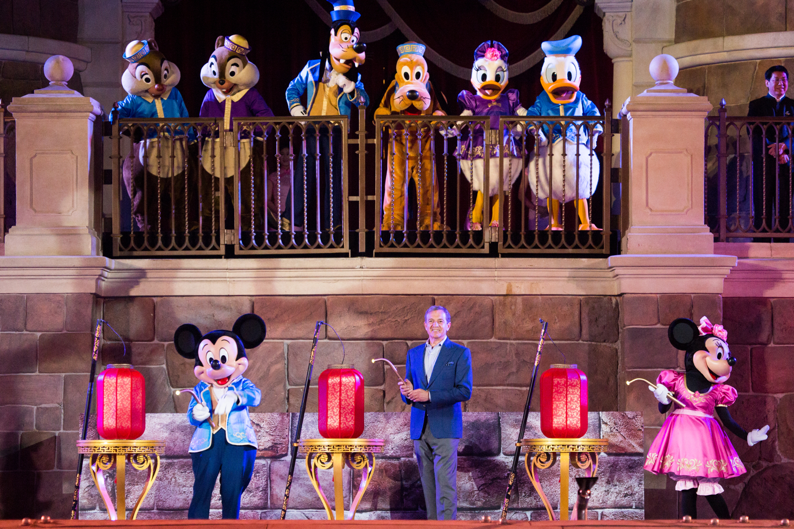 Characters assembled on stage to inaugurate the anniversary