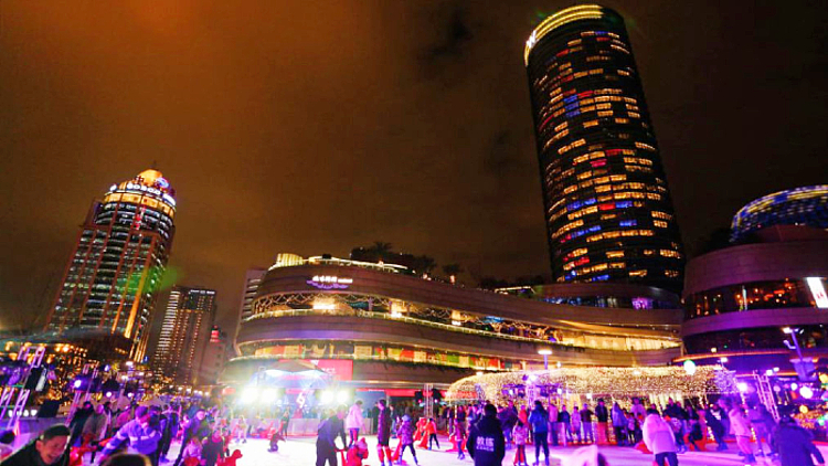 A huge outdoor ice skating rink is open at North Bund through winter